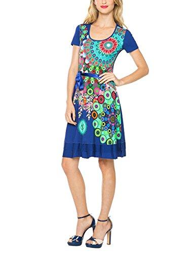 Desigual Damen A-Linie Kleid REGINA GUER, Knielang, Gr. 36 (Herstellergröße: M), Blau (SURF THE WEB 5167) thumbnail