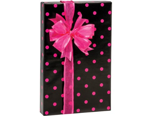Hot Pink Polka Dot On Black Gift Wrap Wrapping Paper 16 Foot Roll front-1000173
