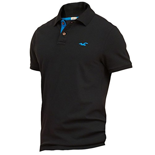 hollister-homme-stretch-contrast-pique-polo-top-shirt-courte-taille-medium-noir-623321695