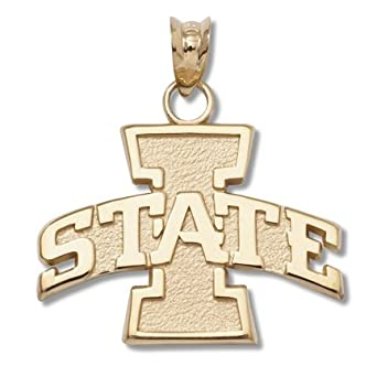 Iowa State Cyclones I State 5 8 Solid Logo Pendant - 14KT Gold Jewelry by Logo Art