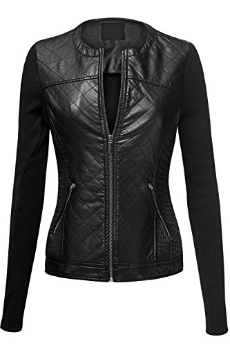 Moto Quilted Pu Zipup Faux Leather Jackets