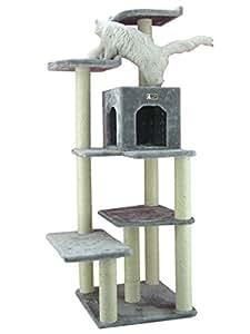 armarkat kratzbaum ac6802s mit gro em katzenhaus und gro er liegefl che in farbe grau 1 73 m. Black Bedroom Furniture Sets. Home Design Ideas