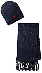 U.S. Polo Assn. Men's Donegal Hat and Scarf Set, Navy, One Size