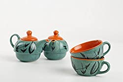 Caffeine Ceramic Handmade Green Glazed 2 in 1 Teapot with Cup (Set of 2)