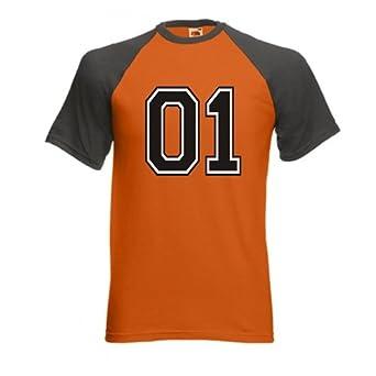 Men's 01 General Lee Baseball T-Shirt (XL, Orange/Dark grey)