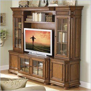 Cheap Riverside Furniture Seville Square Warm Oak 48 Inch TV Stand Entertainment Wall System (8940-PKG)