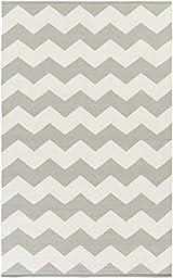 Gray Rug Modern Striped Design 3-Foot x 5-Foot Cotton Flat-Woven Chevron Dhurry