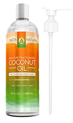 InstaNatural Fractionated Coconut Oil - 100% Pure - Liquid Moisturizer for Skin, Face, Body & Nails - Conditioner for Dry & Damaged Hair - Massage Oil, Cuticle Softener, Shave Gel, Lip Balm - 16 OZ