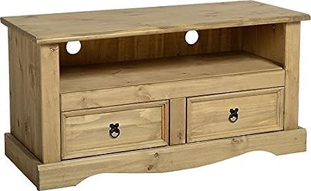 Corona 2 cajones mueble para televisor plano pino encerado envejecido