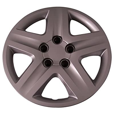 Set of 4 Silver 16 Inch 5 Spoke (Replica of Impala Hubcaps) Wheel Covers with Metal Clip Retention System - Aftermarket: IWC431/16S