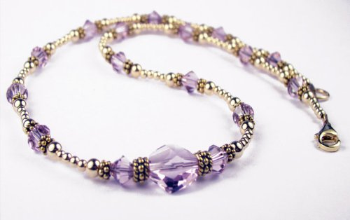 Alexandrite June Birthstone 14K Gold Filled Swarovski Crystal Handmade Beaded 2 Piece Necklace and Earrings Sets