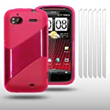 HTC SENSATION / HTC SENSATION XE TICK DESIGN GEL CASE WITH 6 SCREEN PROTECTORS BY CELLAPOD CASES HOT PINKby CELLAPOD