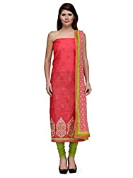 Glamizens Cotton Embroidered Salwar/Pajami/Palazzo Suit Dupatta Material(Un-stitched)
