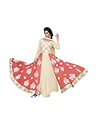 BanoRani Lemon Yellow & Peach Color Faux Georgette & Net Embroidery Full Length Anarkali Gown Style Semi Stitched...