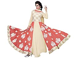 BanoRani Lemon Yellow & Peach Color Faux Georgette & Net Embroidery Full Length Anarkali Gown Style Semi Stitched Dress Material
