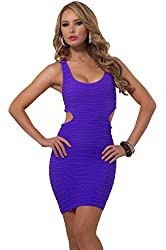 Womens Bodycon Seamless Ribbed Side Cut Out Scoop Neck Sleeveless Mini Dress