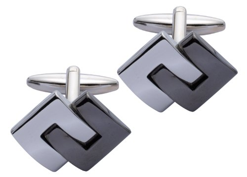 Square Mile Rhodium Plated Base Metal And Black Cufflinks