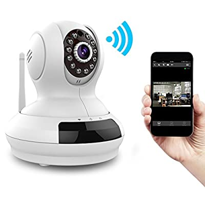 Yeame 720p HD Wifi Ip Camera Wireless Home Surveillance System Remote Video Monitoring with Plug/Play Pan/Tilt Night Vision Two Way Audio Motion Alert (YM009w,White)