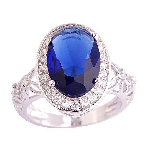 [Psiroy 925 Sterling Silver Dainty Oval Cut Sapphire Quartz Halo Filled Ring for Woman] (Good Guy Duo Costumes)