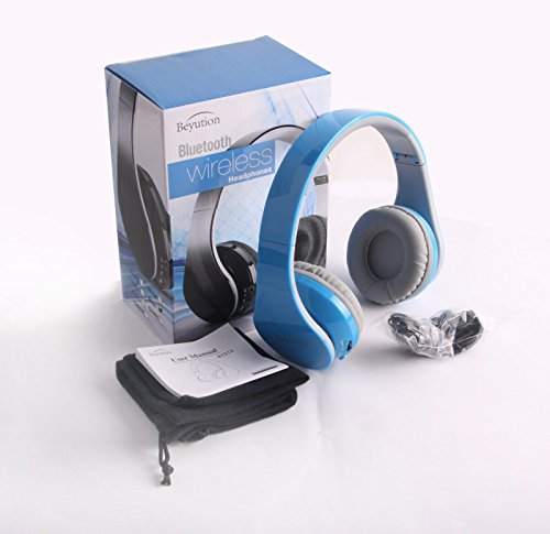 Deals For Blue Hi Fi Over Ear Bluetooth Headphones For Mobile Cell Phone Laptop Pc Tablet Cell Phone Headsets List