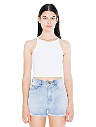 American Apparel Women\'s Cotton Spandex Sleeveless Crop Top, White, Small