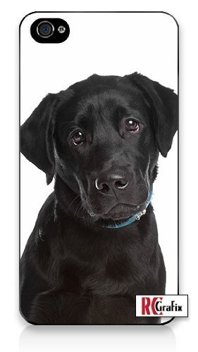 Premium Direct Print Adorable Cute & Sad Black Labrador Retriever Puppy Dog iphone 6 Quality Hard Snap On Case for iphone 6/Apple iphone 6 - AT&T Sprint Verizon - White Case PLUS Bonus RCGRafix The Best Iphone Business Productivity Apps Review Guide