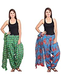 Rama Set Of 2 Printed Blue & Green Colour Cotton Full Patiala With Dupatta Set
