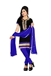 Rk The Fashion Women's Cotton Unstitched Dress Material (RK-FS-402_Black & Blue_Free Size)