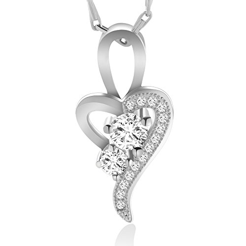 Big Tree 18k White Gold Plated Heart Shaped Solitaire Pendant (multicolor)