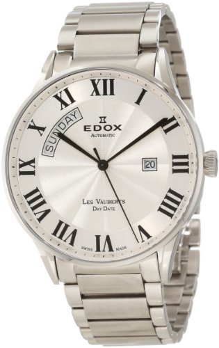 Edox Men's 83011 3B AR Les Vauberts Automatic Silver Dial Roman Numeral Watch