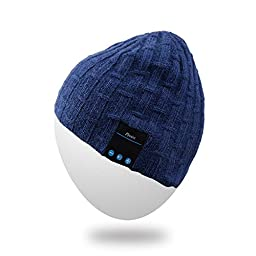 Rotibox Unisex Adult Bluetooth Beanie Hat Trendy Soft Warm Audio Cap Musicphone with Wireless Headphone Headset Speaker Mic Hands-free,Christmas Gift for Winter Outdoor Sport Skiing Snowboard - Blue