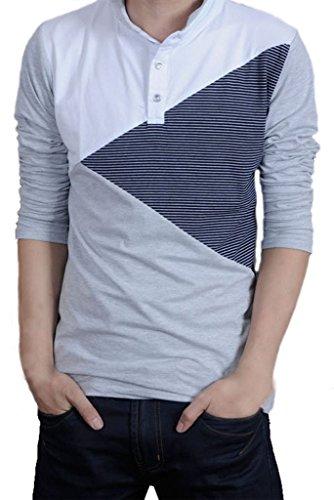 Shirt Raglan manica lunga Henley uomo Gillbro, grigio, 4XL