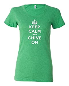 Womens Keep Calm And Chive On Tri-Blend T-shirt