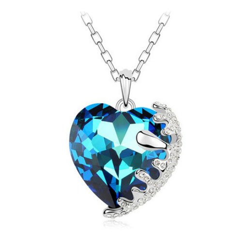 Mqueen Austrian Sapphire Embed Heart Pendant Necklace front-643814
