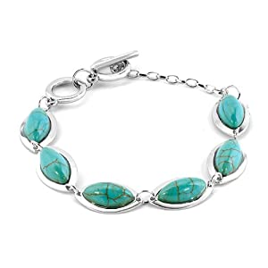 Pugster Silver Tone Bling Jewelry Oval Genuine Trendy Turquoise Bracelet