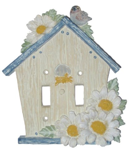 Lightswitch Rustic Blue Birdhouse Double Switch Plate Cover