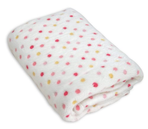 Stephan Baby Ultra Soft Plush Fleece Blanket, Pink Pastel Polka Dots