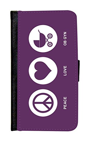 Rikki Knighttm Peace Love Ob Gyn Purple Color Galaxy S5 Premium Pu Leather Wallet Type Flip Case With Magnetic Flap And Wristlet For Samsung Galaxy S5 I9500