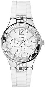 Guess - W10615L1 - Montre Femme - Quartz Analogique - Cadran Blanc - Bracelet Silicone Blanc