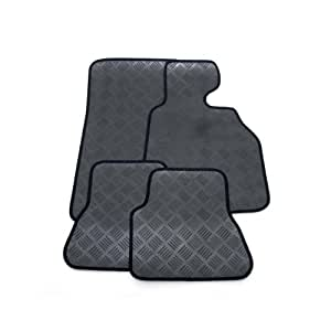 Custom Fit Tailor Made Black Rubber Interior Protection Car Mats for Nissan Qashqai+2 (2008 Onwards) - Neat Black Ribbed Stitched Edging Trim