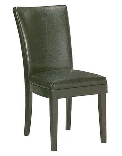 Dining room chairs 2 new black leather like parson chairs for Black leather parsons chairs