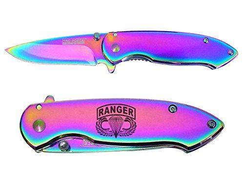 Airborne Ranger engraved Mirror Rainbow Finish TAC-Force TF-862RB Speedster Executive Model Folding Pocket Knife by NDZ Performance