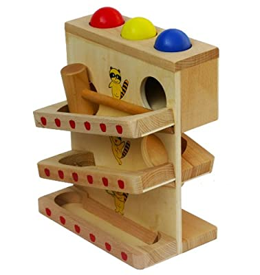 Toys of Wood Oxford Wooden Hammer and Balls - Multilayer Trays with Big Balls