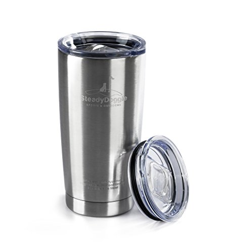 Premium Stainless Steel Coffee Travel Mug 20 0z Double Wall Insulated Tumbler with BONUS Sliding Lid - Sweat Free, Dishwasher Safe, Snug Fit for Car Cup Holder - Travel Friendly Size (Coffee Stainless Steel Tumbler compare prices)