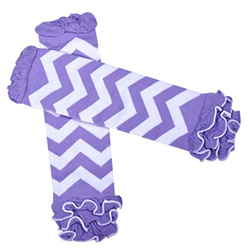 Creazy® Child Girl Striped Kneepad Socks Leg Warmer (Purple)