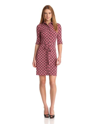 laundry BY SHELLI SEGAL Women's Petite Button Front Shirtdress, Black Multi, 4