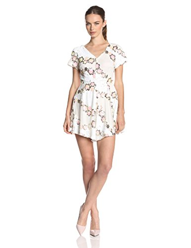 Glamorous Women'S Daisy Chain Sequin Short Sleeve Dress, White, Medium