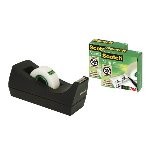 scotch-desktop-tape-dispenser-black-with-scotch-magic-tape-19mm-x-33m-3-rolls-per-pack