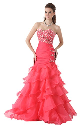 MonthStars Women's Beaded Tiered Memaid Prom Dress Long Party Gowns (US8, Pink)