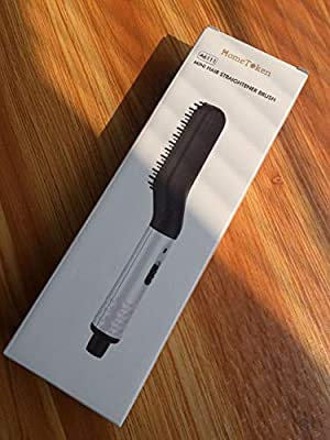 HomeToken Beard Straightener,Anti-scald Beard Straightener Comb,Fast Heat up Beard Straightener for Men - 2 Temp Mode 110-240V with FREE Wood Comb for Quick Styling,Traveling,Gifts (White)